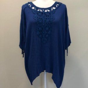 Cupio Royal Blue Knit Eyelet Open Skeeve Top Small